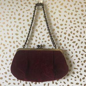 J.Crew maroon kiss lock purse
